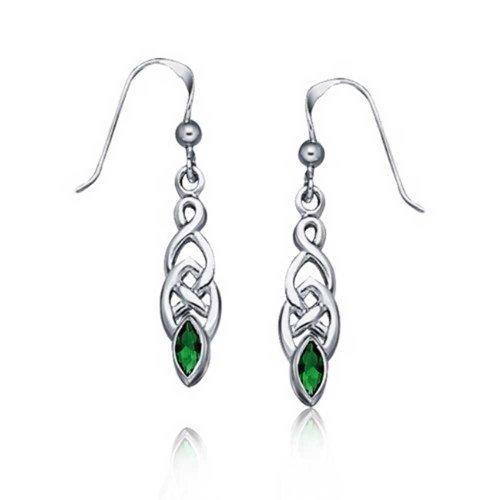 - Personalized Celtic Knot Work Love Knot Kelly Green Dangle Earrings For Women 925 Sterling Silver Custom Engraved