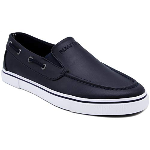 Nautica Men's Doubloon Boat Shoe Slip-On Loafer-Navy Smooth-9.5