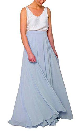 Uswear Women Long Bridesmaid Chiffon High Waist Skirt Maxi Floor Length Bridesmaid Party Dress (Dusty Blue, Medium:Waist ()