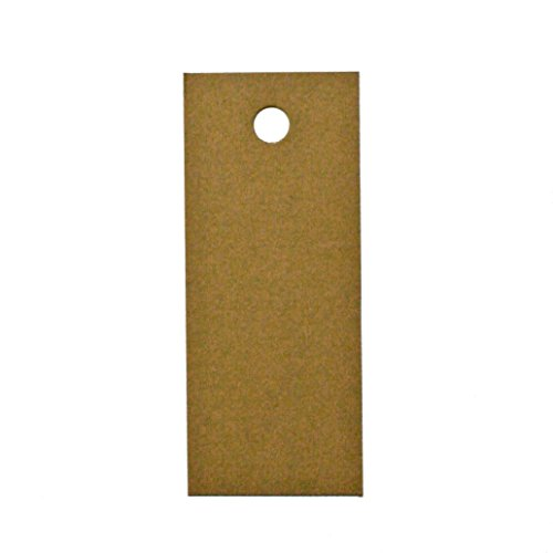 90 Printable Cardstock Rectangle Hang Tags with Holes, 3 x 1.25 inches, Kraft Brown