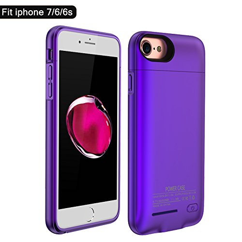 BIGFOX for iPhone 7 Battery Case, for iPhone 8 Charging Case Magnetic Rechargable External Battery Case 3000mAh Slim Extended Backup Power Bank Case Bank Cover for iPhone 6/6S/7/8[4.7inch] (Purple)