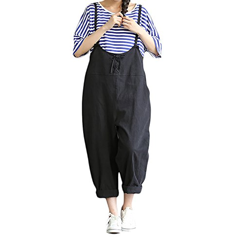 33ee014dbbf Helisopus Women s Baggy Adjustable Strap Sleeveless Plus Size Linen Overalls  Jumpsuits Casual Loose Wide Leg Rompers