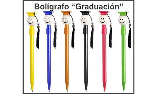 Lote de 50 Divertidos Bolígrafos para los graduados en variada gama de vivos colores con Pom pom de tela DISOK