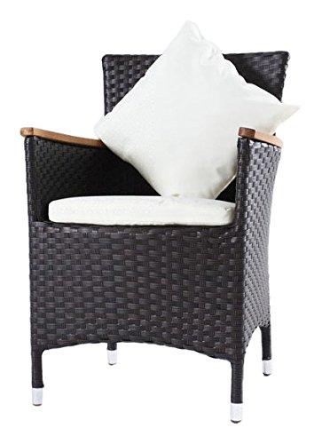 OUTFLEXX Sessel aus Polyrattan/Teak inkl. Polster und Kissen, 2er Set braun
