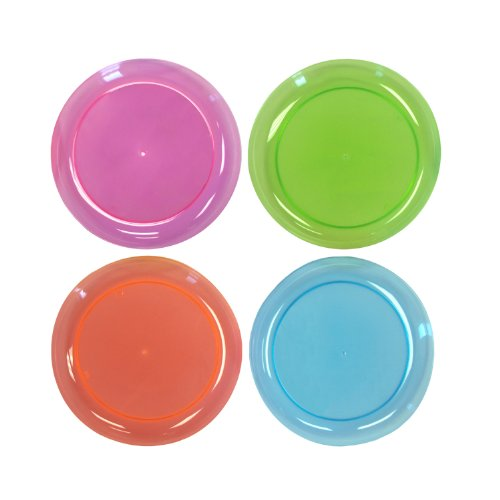 Party Essentials N74090 Brights Hard Plastic Round Salad Party Plate, 7-1/2