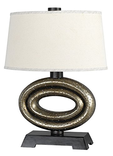 (Cal Lighting BO-953DK Table Lamp with White Fabric Shades, Terra Cotta Finish, 19