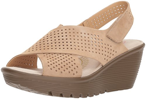 Skechers Womens Parallel Infrastructure Wedge Sandal Dark Natural