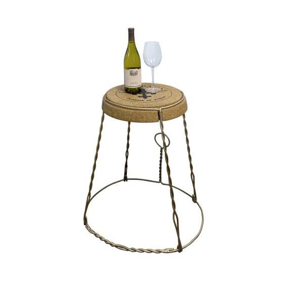 Epicureanist Vinotemp Champagne Cork Table, Metal - This quality oversized Champagne cork serves as a unique and innovative table or decorative furnishing This sturdy piece of furniture is made entirely of compressed cork While this can be used indoors and outdoors, it is recommended that it is kept in a sheltered, dry area - living-room-furniture, living-room, end-tables - 41%2BXJZSlwEL. SS570  -
