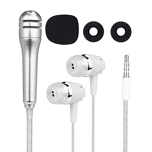 Price comparison product image Mini Studio Condenser Microphone, Mobile Recording Handheld Microphone, Karaoke Echo Microphone for SmartPhone(iPhone, Android), PC(Windows,  Mac), iPad, Tablet, Smule, Yokee, Youtube, Starmake (Silver)