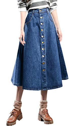 Fit And Flare Denim Skirt (Chouyatou Women's High Waist Preppy Style Front Button A Line Flare Denim Skirts (XX-Large, Blue))