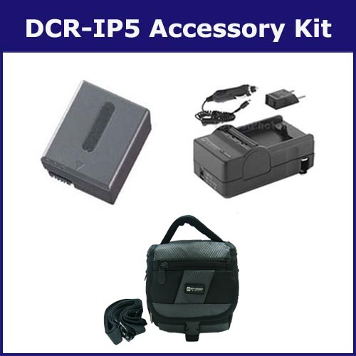 Sony DCR-IP5 Camcorder Accessory Kit includes: SDM-102 Charger, SDNPFF70 Battery, SDC-27 Case ()