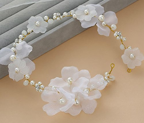 Blue Garland Basket - Bohemian Flowers Pearl Garland Bridal Wedding/Sweet Sixteen/Flower Girl/Quinceanera Crown Headdress (White Silk Flower)