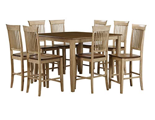 - Sunset Trading DLU-BR4848CB-B70-PW9PC Brook Pub Table Set, Two Tone Wheat and Pecan