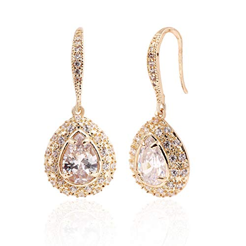 Teardrop Dangle Earrings for Women - Gold Bridal Pear-shaped Crystal Cubic Zirconia Rhinestone Drop Earrings for Wedding Party Prom Bride Bridesmaid Mother of Bride