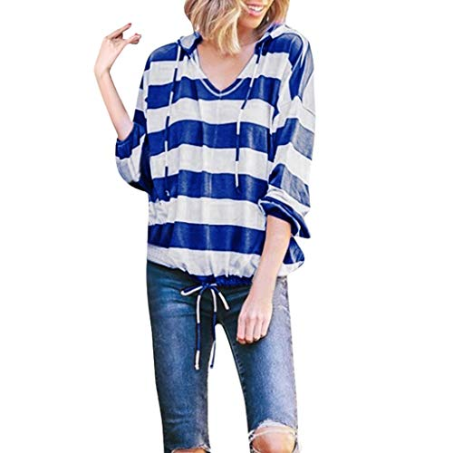 Fshinging Womens Stripe Tops, Long Sleeve Pullover Tops Thin Hoodie Blouse Sweatshirt and Elastic Band(Blue,XL)