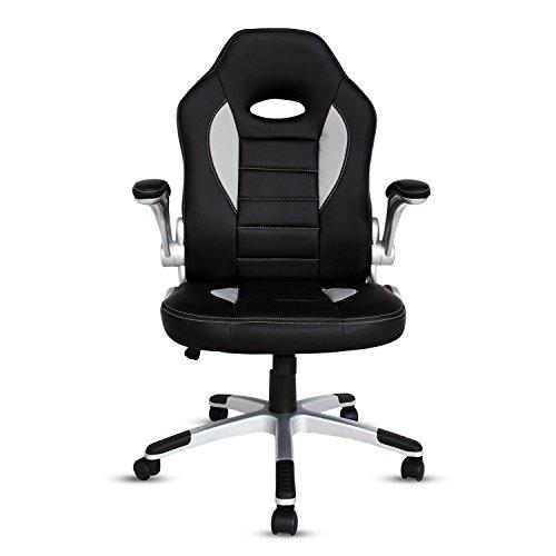 Kinbor PU Leather Executive Racing Style Bucket Seat Chair Home Office Swivel Desk Chair Black & Blue