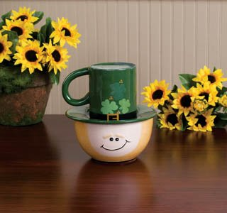 St. Patrick's Day Leprechaun Full Size Breakfast Lunch Set Cup Plate Bowl