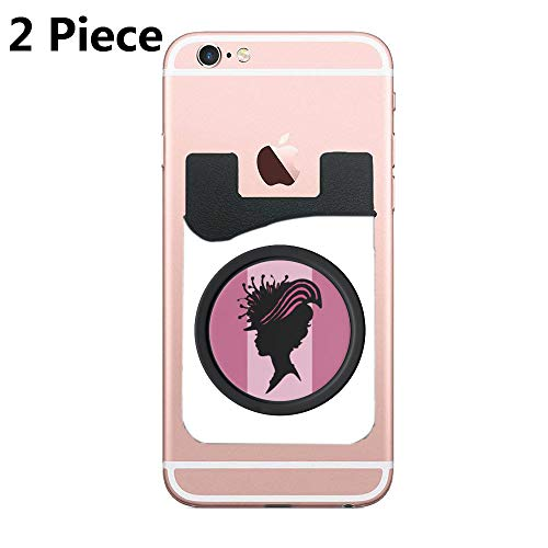 Two Secure Cell Phone Stick On Wallet Card Holder Phone Pocket for iPhone, Android and All Smartphones (Lady Black Shadow Fancy hat) ()