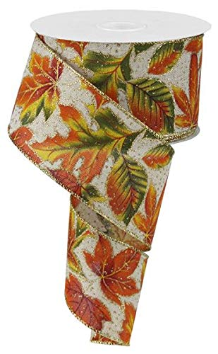 Fall Thanksgiving Leaves Moss Orange Yellow Beige Wired Ribbon 2.5