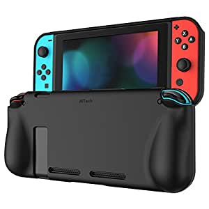 JETech Protective Case for Nintendo Switch 2017, Grip Cover with Shock-Absorption and Anti-Scratch Design, Black