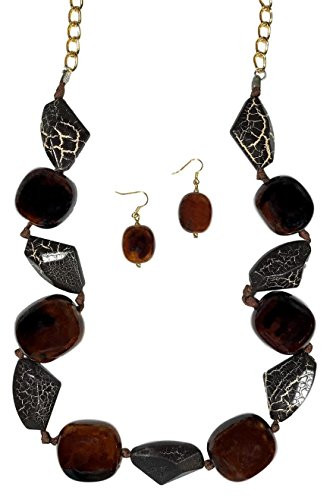 Dave's Collections Brown White Animal Print Bead Knotted Strand Statement Necklace Earring Set 32'' by Dave's Collections