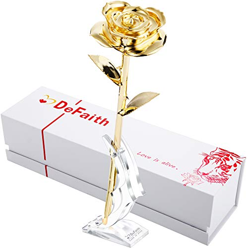 DEFAITH Real Rose 24K Gold Dipped, Forever Gifts for Her Valentines Day Anniversary Wedding and Proposal - King Gold with Acrylic Moon Stand (24k Gold Trimmed Vase)