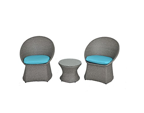 Outdoor Rattan Wicker Bistro Set Garden Patio Furniture Conversation Chair & Table Cushioned Sets(Turquoise Cushion,3 Piece) (Table Patio Glass Clips)