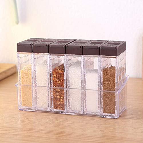 CUTICATE 6ピース/個用途の広い貯蔵タンク付き調味料缶、透明キッチンセット - 白