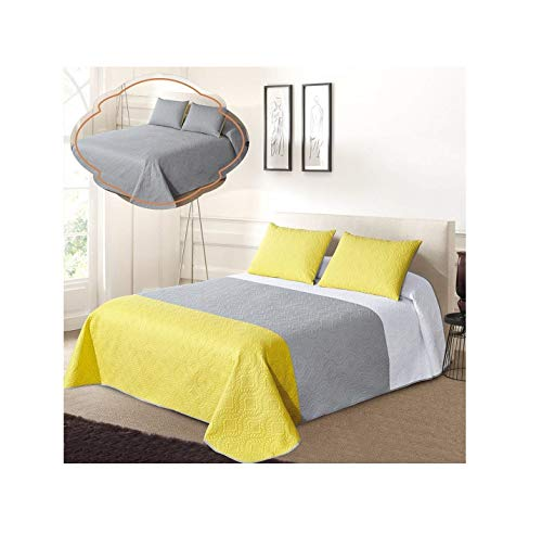 All American Collection New 3pc Solid Three Color Combination Reversible Bedspread Set (FULL/ QUEEN, White/Grey/Yellow)