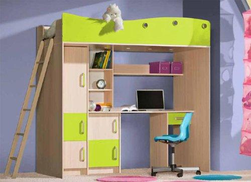 Hochbett Kinderbett Kombi Schreibtisch Schrank eiche milchig grün ...