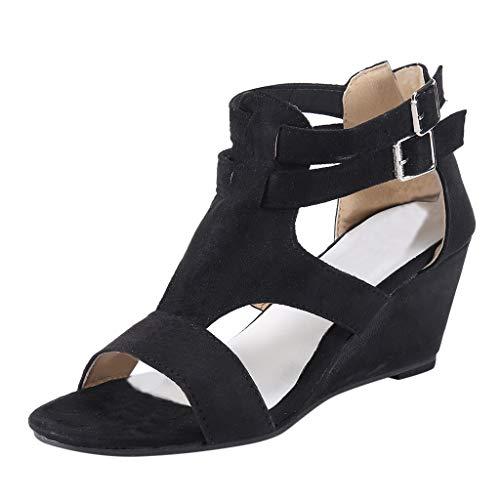 2020 Basic Fashion - Tsmile Women Sandals Plus Size Summer Retro Wedges Hollow Casual Shoes Strap Gladiator Roman Sandals Black