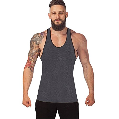 Elogoog Fashion Mens Tank Top Vest Racerback Solid Singlet Sport Bodybuilding Shirt (2XL, Deep Gray)