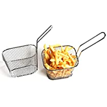 HOKUGA: Mini Fry Baskets Stainless Steel Fryer Basket Strainer Serving Food Presentation Cooking Tool French Fries Basket #268083