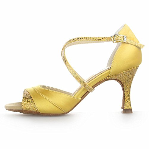 Dance Heel with Latin Jia Satin 20527 Glitter Women's Gold Sparkling 2 Shoes Sandals Jia Flared 8'' Super gHFw6
