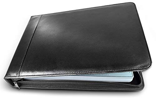 Executive Business Check Binder PU Leather 7 Ring Checkbook Cover (3 Checks on a Page) with - Leather Binder Ring Zip