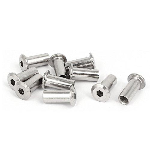uxcell M8x22mm Metal Hexagon Hex Socket Head Barrel Nuts Furniture Fittings ()