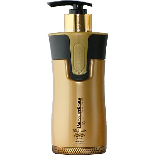 Keratin Cure Professional Brazilian Smoothing Hair Treatment Gold & Honey V2 Creme Brazilian Hair Treatment Straight Repair Shine 300ml 10 fl oz. Tratamiento Keratina Alisado by Keratin Cure