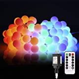 B-right Outdoor Globe String Lights, 100 LED 43.6ft Waterproof String Balls with 8 Modes Remote & Timer, 29V Safety Output UL Listed Power Adapter, Multi-Color