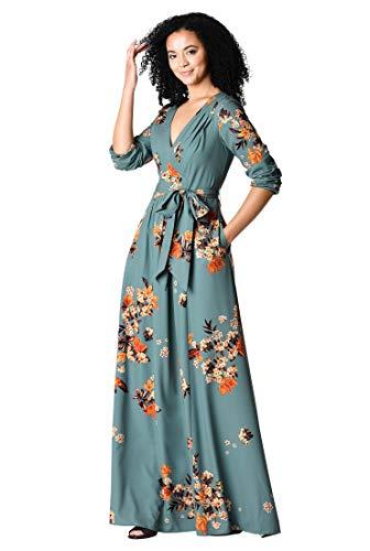 eShakti FX Pleated Floral Print Crepe Maxi Dress Short Lavender Multi