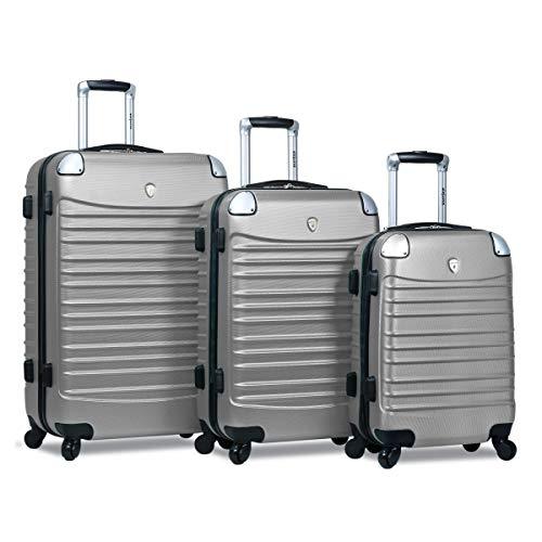 Dejuno 25DJ-610-SILVER-GREY Impact Hardside Spinner Luggage Set – Silver44; 3 Piece