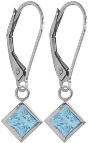 14K White Gold 1.50 Carat Princess Cut Square 5mm Genuine December Blue Topaz Leverback Gem Earrings Elite Jewels BE3444W