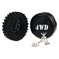 HobbyMarking RC Car 1/10 Steel Tire Carrier and 108mm Spare Tire Leather Cover for Tamiya Axial SCX10 RC4WD D90