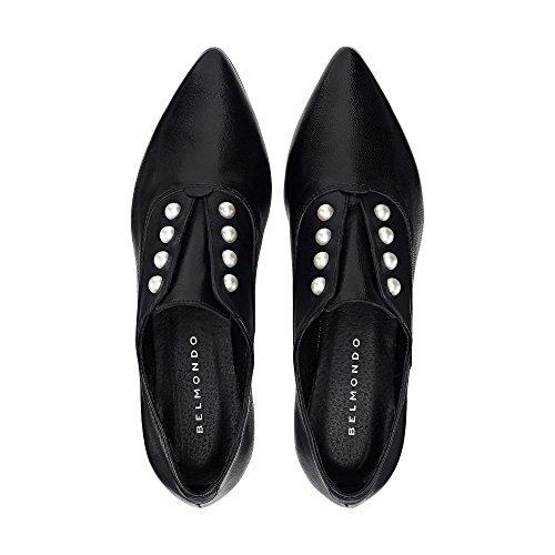 Belmondo Damen Trend-Slipper Aus Leder, Schwarzer Schuh mit Perlen-Applikation Schwarz