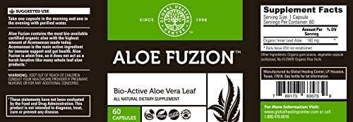 Global Healing Aloe Fuzion Bio-Active Organic Aloe Vera Leaf Supplement - 200x Concentrate Formula with Highest Concentration of Acemannan - Aloin-Free - Blood Sugar & Immune Support - 60 Capsules 2