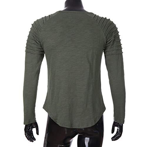T Longues Couleur Vert À Haut Unie De Col Top Hommes Tops shirt Rond Manches Oversize Casual Slim Covermason Chemisier Occasionnel Tee rxxwp