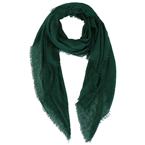 Lightweight Crinkle Scarf - LMVERNA Women wrinkle Scarf Crinkle Muslim Hijab scarves Solid Color Long Wrap Scarf (Dark Green)