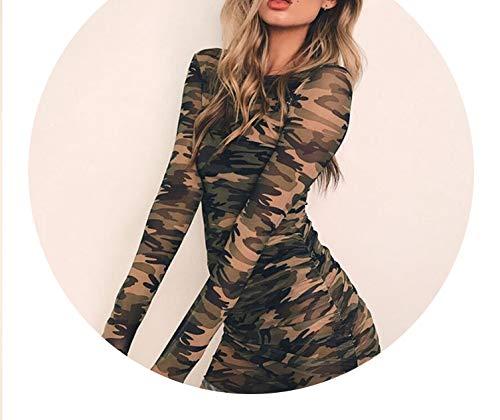 New Summer Sexy Women O-Neck Long Sleeve Bandage Bodycon Mesh Dress,Multi,L