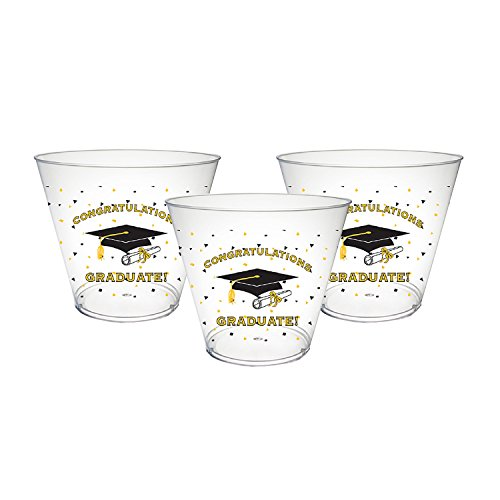 Party Essentials 20Count Printed Hard Plastic 9 Oz Tumbler Party Cups, Graduation