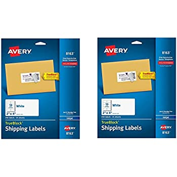 Avery Shipping Labels with TrueBlock Technology, 2 inches x 4 inches, White, 250/Pack, PK AVE8164 fqllPh, 2 Pack