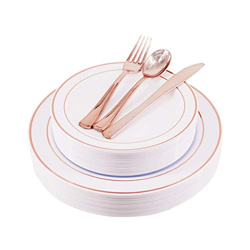 125 Rose Gold Disposable Plastic Plates Cutlery with Silverware -25 Dinner Plates, 25 Dessert Plates, 25 Forks, 25 Knives, 25 Spoons- Heavyweight Gold Rim Dinnerware for Party & Wedding